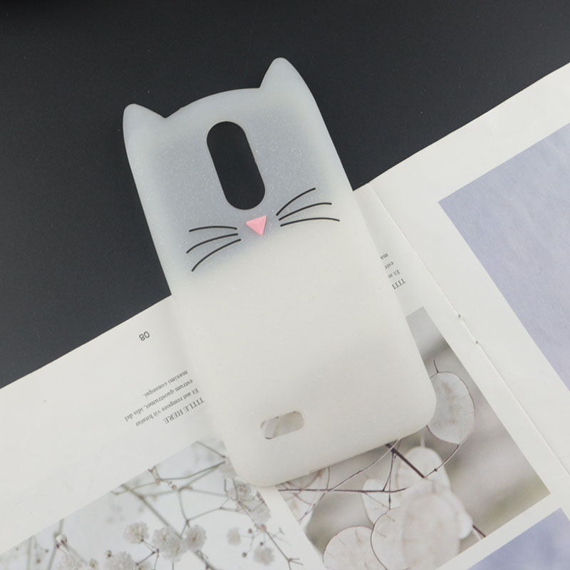 Cute 3D Cartoon Silicon Case for LG Aristo 2 Cases Japan Glitter Beard Cat Lovely Ears Kitty Phone Cover Aristo2 Plus 2+