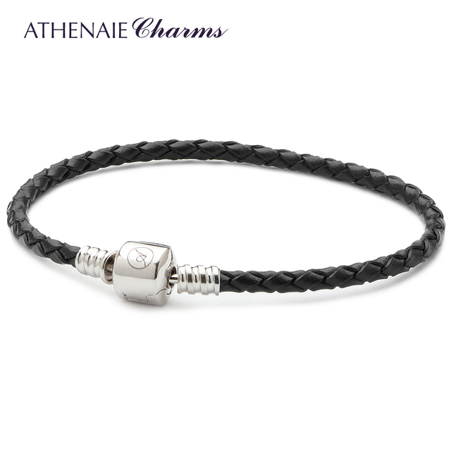 ATHENAIE Black Single Braided Leather 925 Sterling Silver Snap Clasp Bracelet Fits Fit All European Charm Bead kLxNtb