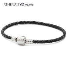 ATHENAIE Bracelet en cuir tressé noir, argent Sterling 925, fermoir pression, convient à toute perle européenne, pour femmes et hommes, cadeau