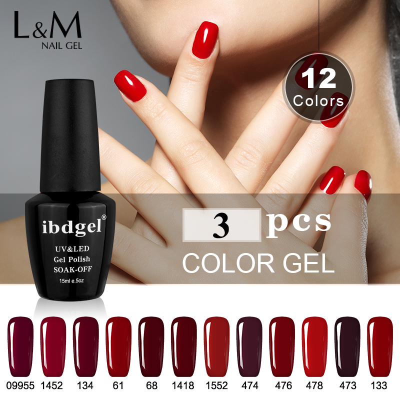 3 pcs kit ibdgel color gel nail polish red series colorful nail vernis semi permanent