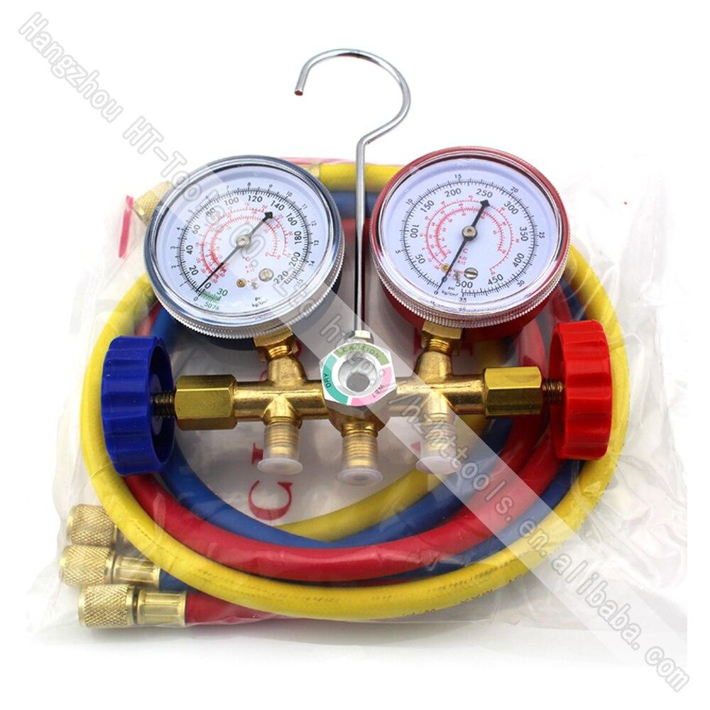 Цена за 1 шт. R134A R12 R22 R502 хладагенты разнообразный Измерительные приборы Инструменты Комплект двойной стол Клапан три Цветной-шланги воздуха conditionin автомобиль-stying