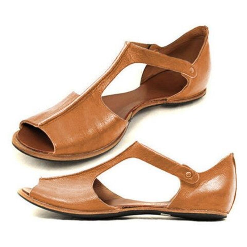 Size 35~43 sandals women 2019 flat Retro big size sandals for womenSize 35~43 sandals women 2019 flat Retro big size sandals for women