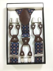 Image 2 - 2019 Fashion Mens suspenders Genuine leather Jacquard mens trouser braces 6 clips adult suspensorio tirantes hombre bretelles