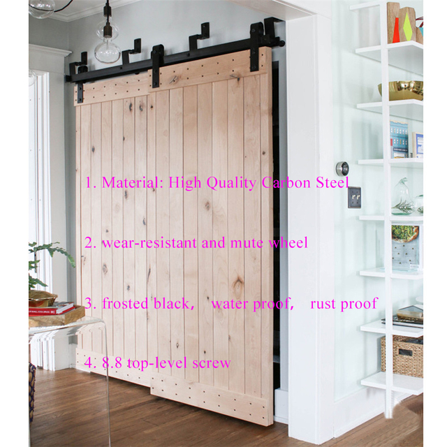 5FT-10FT Bypass sliding barn wood door hardware country style black barn door hardware track kit with soft close mechanism