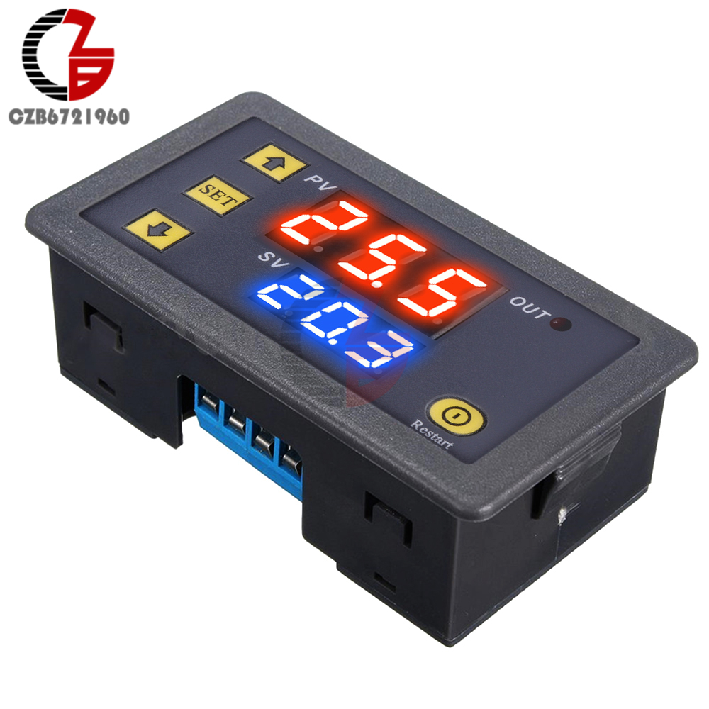 AC 110V <font><b>220V</b></font> 12V Digital Time Delay <font><b>Relay</b></font> Dual LED Display Cycle Timer Control Switch Adjustable Timing <font><b>Relay</b></font> Time Delay Switch image