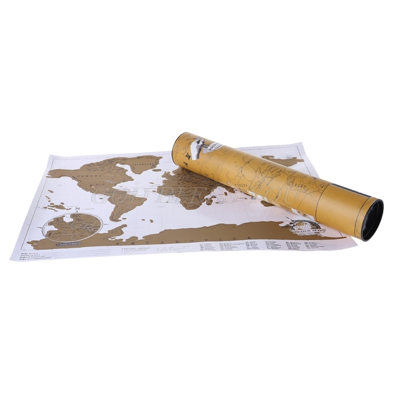 Deluxe Scratch Off Journal World Map Personalized Travel Atlas Poster Novelty