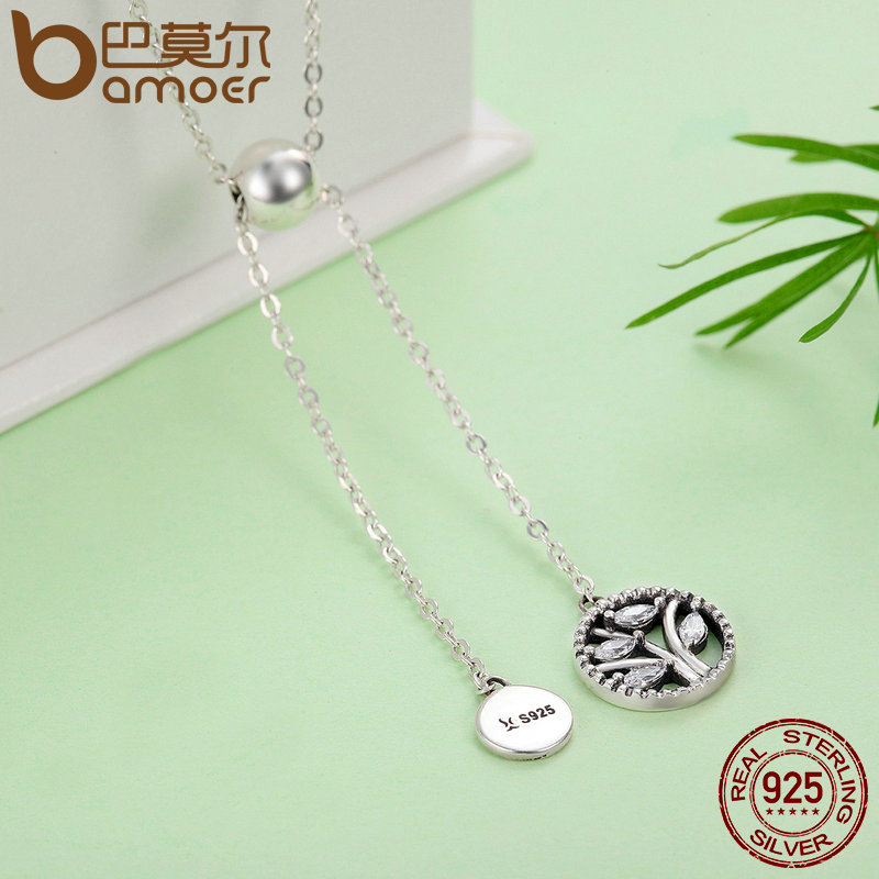 BAMOER Genuine 925 Sterling Silver Tree of Life House Letter Link Chain Necklaces Pendants Authentic Silver BAMOER Genuine 925 Sterling Silver Tree of Life & House Letter Link Chain Necklaces & Pendants Authentic Silver Jewelry SCN106