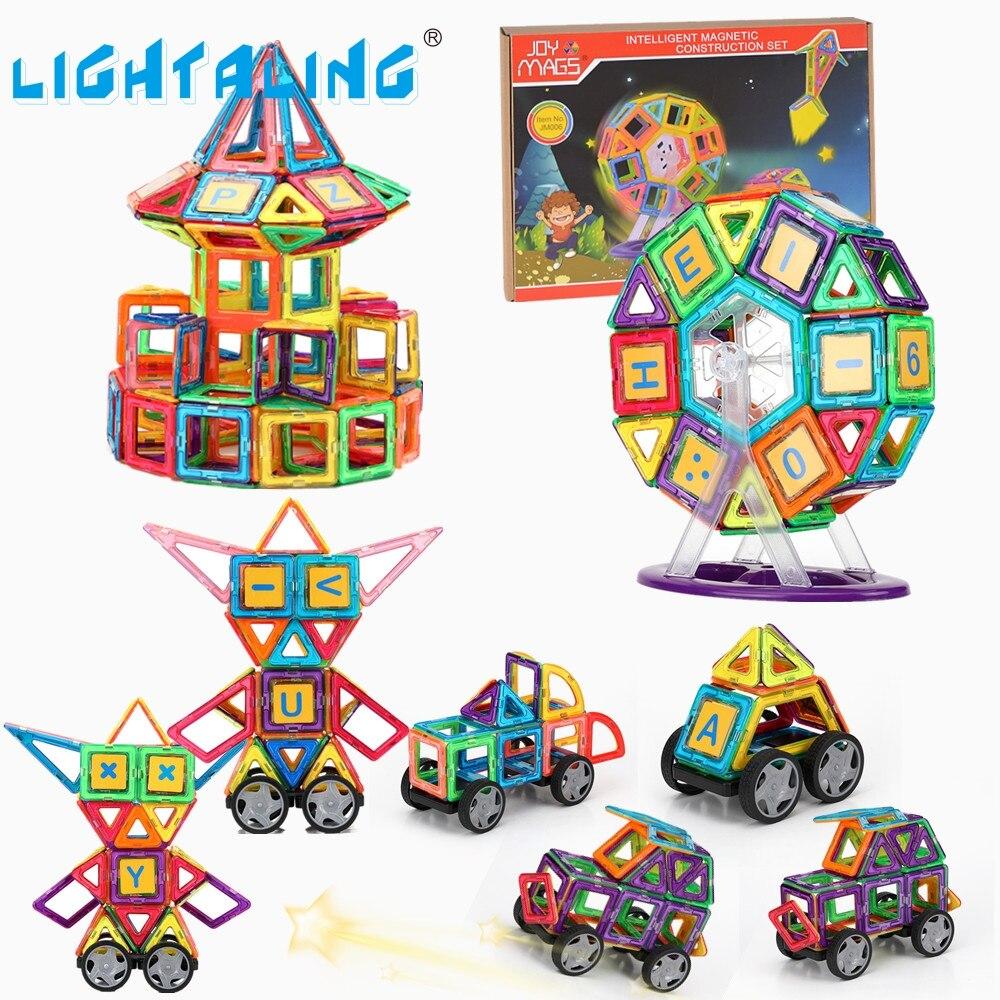 Lightaling большой размеры 102/149 шт. Магнитная Конструкторы Дизайнер 3D DIY Строительство Творческий Enlighten здания детей подарок на день рождения