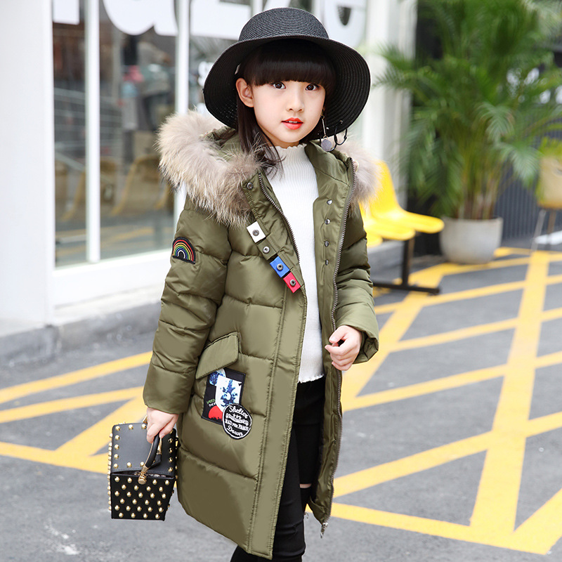 OLEKID 2018 Children Down Jacket For Girls Brand Long Movable Fur Collar Girls Winter Coat 5-14 Years Kids Teenage Outerwear new brand women s middle aged and old long down jacket female bigger sizes mother fur collar clothing winter coat printing hot