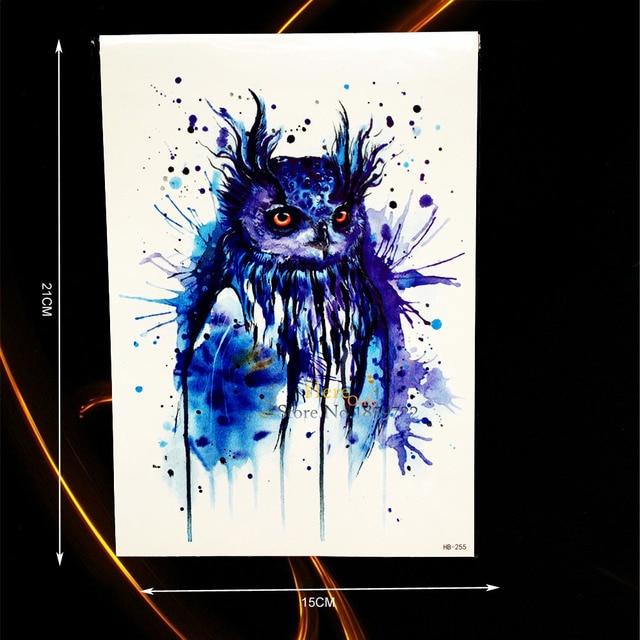 1PC Sexy Blue Ink Owl Tattoo Body Art Painting Temporary Tattoo Sticker Waterproof Arm Tatoo Sleeve For Men Women Armband HHB255