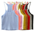 Women top ganchillo tops crops for summer femme sexy sarafan cropped feminino white black red pink crochet Suspenders tank tops