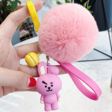 Colorful cartoon KPOP Fur Ball bts bt21 Plush Keychain animal bag Pendant Holder Tata Chimmy Key ring Handbag Charm best gift(China)