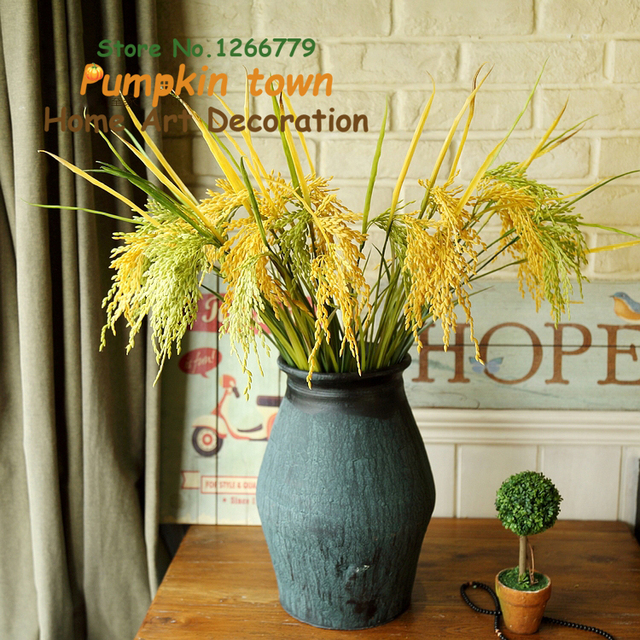 A Bouquet Of 12 Branches Idyllic Country Style Simulation Paddy Wheat Realistic Plastic