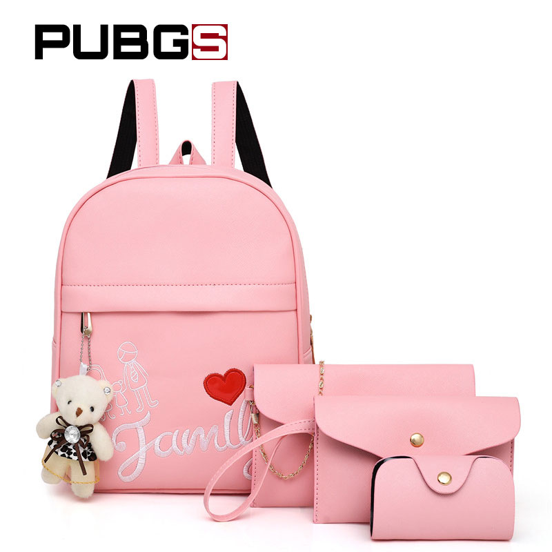 Womens Backpacks Fashion Lady Embroidery School Bag 4 Piece Set Chains Crossbody Bag Travel Backpack PUBGS 2018 New Gift Bear