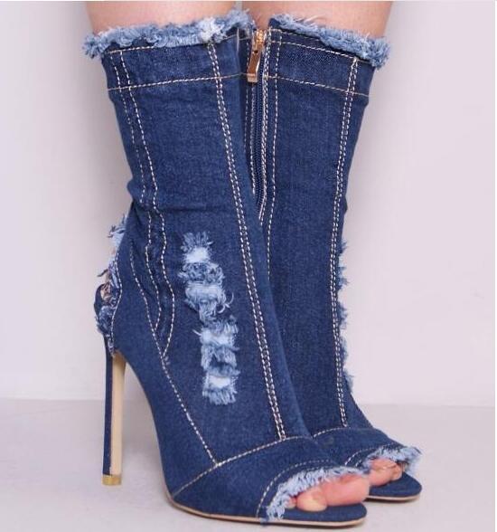 Courtes Peep navy bleu Mode Talons Bottes Mi Black outs Trous Stiletto Noir Escarpins Denim Toe Pour Blue Cut Femmes Tassles De mollet Ow8ORPqA