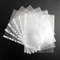 2Sets A4 Clear Plastic Punched Pockets Folders Filing Wallets Sleeves Wallets - 200 pieces