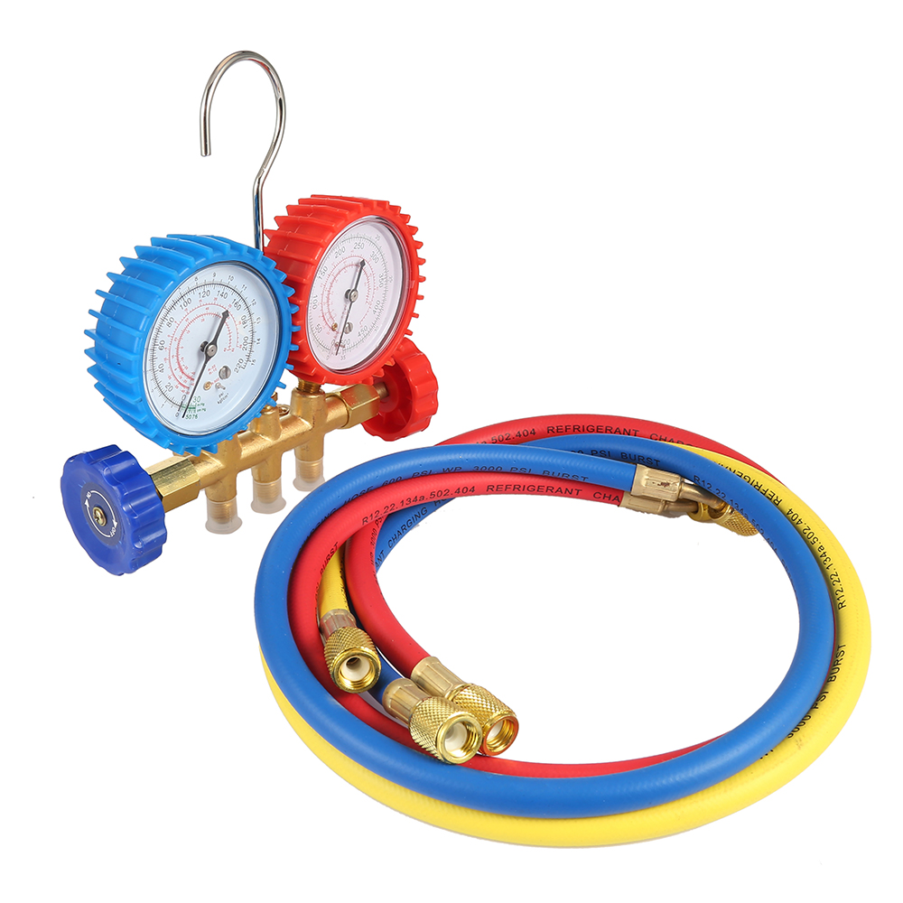 Hot Refrigerant Manifold Gauges Tool Set Tables Colored Hoses Manifold Double Table Valve Three Air Conditionin Car Styling