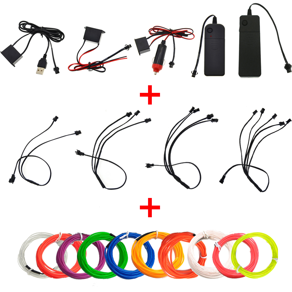 EL Wire 1M Glow String Strips Neon LED Light + Controller + Inverter ...