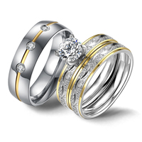 Couple Rings Luxury Crystal Cubic Zircon Stainless Steel Women Rings Set Striped Promise Ring for Men Wedding Band