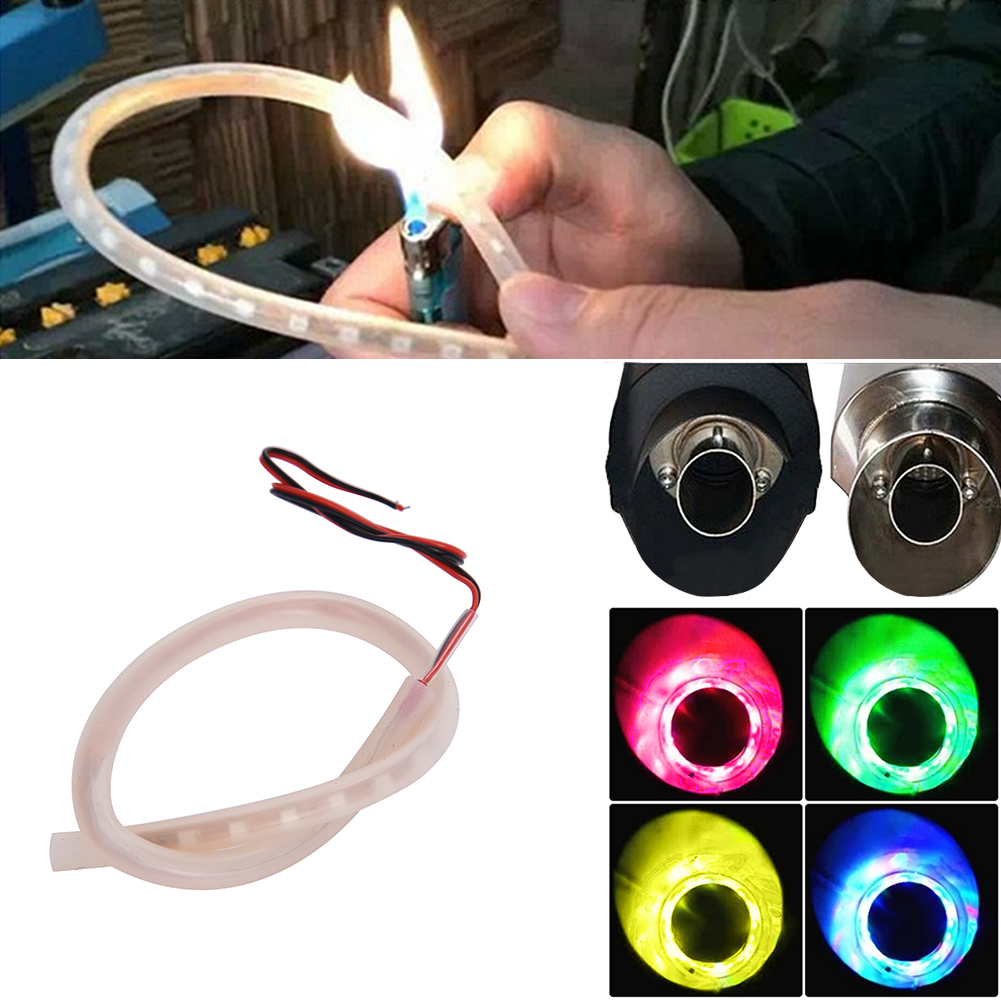 Image 4 - 1Set Motorcycle LED Light Red Motorbike Exhaust Pipe Lamp Warning Firing Indicators Scooter Refit Torching Thermostability Light