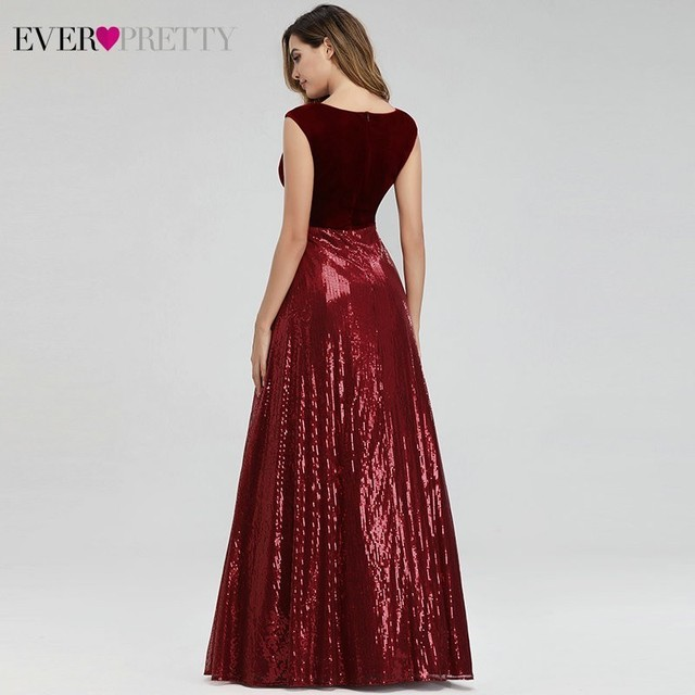 Evening Dresses Long Ever Pretty EP07840 Sexy Deep V-neck Beading Sequined Sparkle New Formal Party Gowns 2020 Abendkleider 4