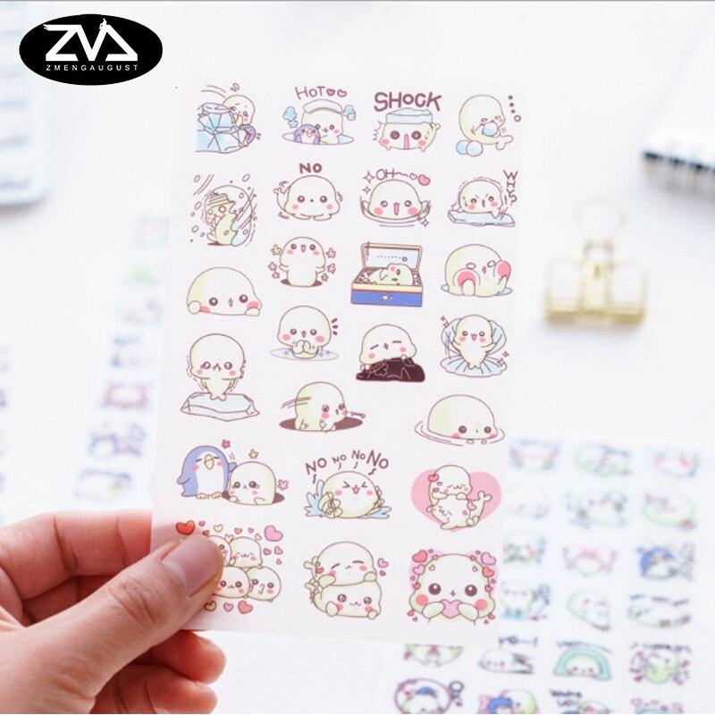 6pcs/lot cute Small sea lion PET cartoon sticker decoration diy Cartoon Scrapbooking Stickers album creative stationery
