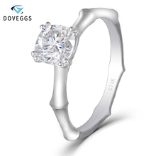 DovEggs Classic 14K 585 White Gold Center 1ct 6mm GH Color Moissanite Diamond Engagement Ring for Women Anniversary Wedding Ring недорого