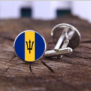 SUTEYI NEW Fashion Barbados national flag jewelry charms High Quality Cufflinks jewelry Accessories Handmade mens Cufflink image