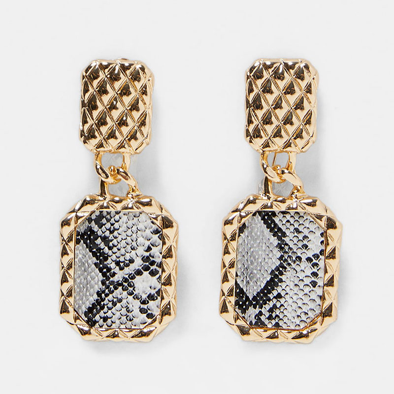 Dvacaman ZA Big Rectangle Metal Drop Earrings