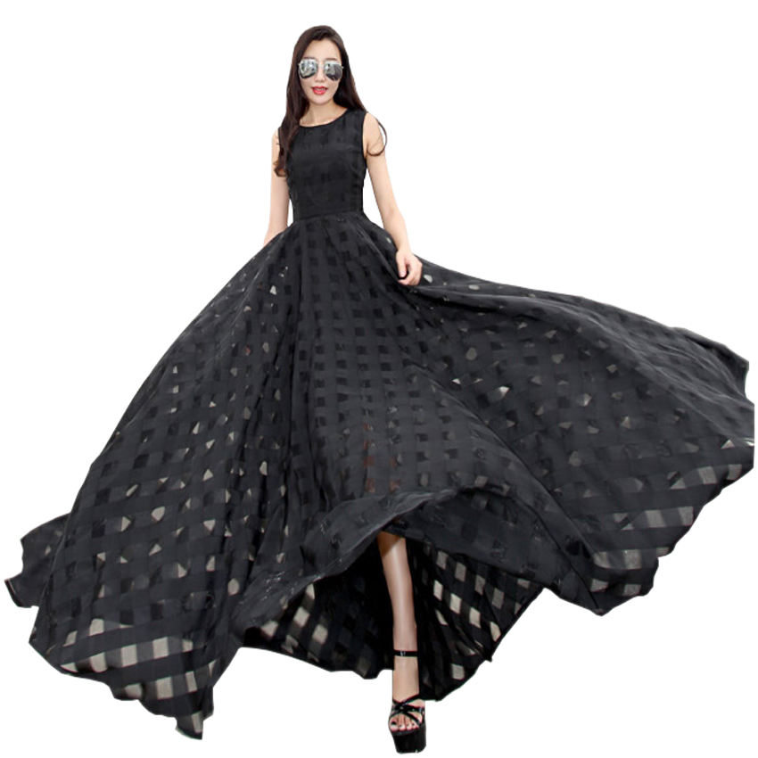 2018 New Womens Summer Dress Elegant Vintage Black White Organza Sleeveless Casual Long Maxi Dress Holiday Beach Party Vestidos