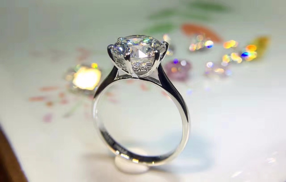 925 sterling silver Ring 4 carat 10MM Simulated Synthetic Gem rings for women exaggerated rings wedding ring