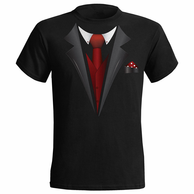 Tuxedo Fancy Dress Stag Party Tux T-Shirt Mens Funny Wedding Prom Beachelor Groom Gift Tops Tee Shirts Black