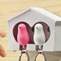 Hot New 1 Set Bird Keychain + 1PC Bird House Nest Whistle Key Holder Chain Ring Keyholder Keychain Keyring Hanger Rack HCV136
