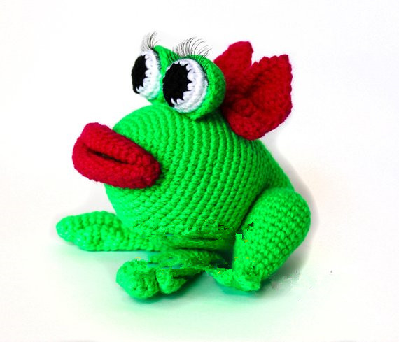 Crochet Toys  Amigurumi  Rattle   Frog  H Mode L Number W464