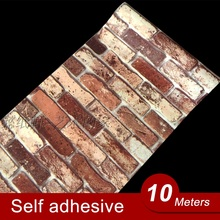 10M Vinyl Self adhesive wallpaper PVC waterproof stone wallpapers Brick wall paper decorative wall stickers bedroom home decor(China)