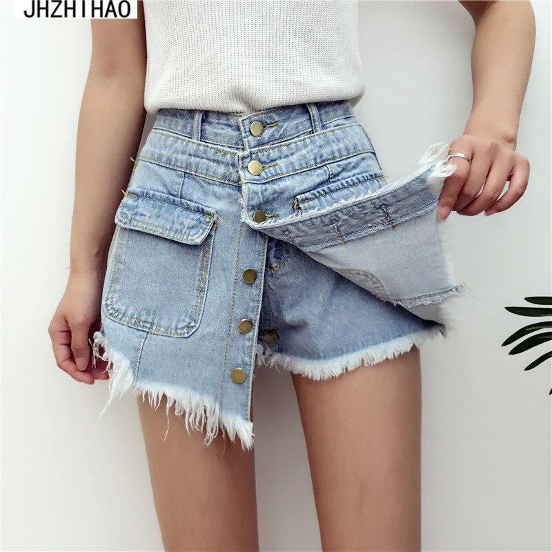 Ladies High Quality Sale High Waisted Denim Shorts Women 2017 Summer Skorts Skirts Slim Blue Short Jeans Vintage Short feminino