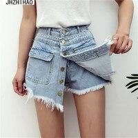 Dames Hoge Kwaliteit Koop Hoge Waisted Shorts Vrouwen 2017 Zomer Skorts Rokken Slanke Blauwe Korte Jeans Vintage Korte feminino
