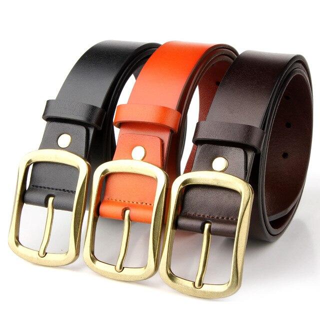 f2a38c60e4a Badinka High Quality Gold Color Metal Buckle Real Leather Belt Men Luxury  Wide Black Brown Red Wide Waist Belts for Men s Jeans