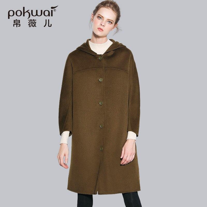 Pokwai длинный зимние двойной уход за кожей лица шерстяное пальто с капюшоном 2017, женская обувь Однобортный ручной работы женские пальто широк