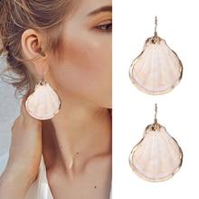 HOCOLE ZA 2019 New Shell Drop Earrings For Women Trendy Natural Sea Dangle Statement Boho Jewelry Female