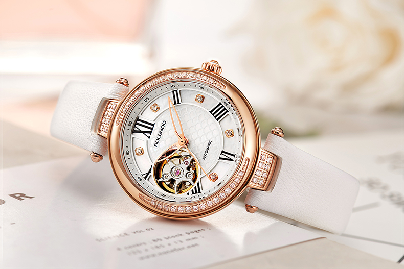 Rolendo 2018 Top Brand Luxury Hot Sale Skeleton Automatic Ladies Watch Steel Material While Leather Women Mechanical Watches цена