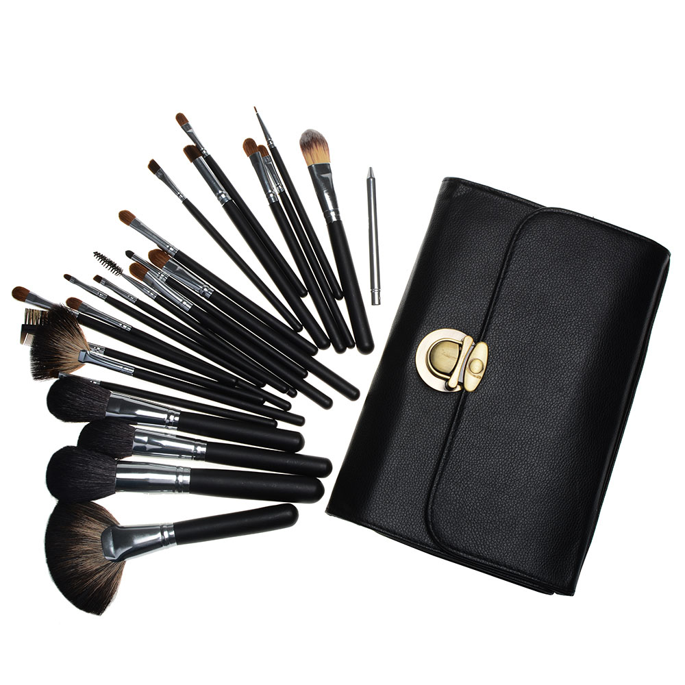 24pcs Makeup Brushes Set Powder Foundation Eyes Smudge Brush Complete Kit Cosmetic Beauty Tools Goat Hair with Case msq 15pcs professional makeup brushes set foundation fiber goat hair make up brush kit with pu leather case makeup beauty tool
