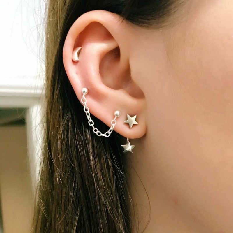 New Earrings Fashion Personality Five-pointed Star Moon Combination Female Earrings Set Hot Sale Accessories Wholesale