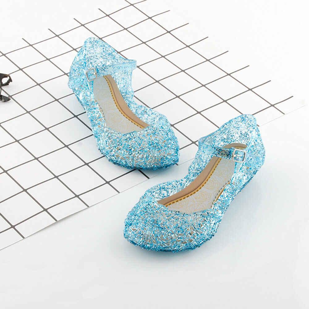 Sandales en gelée de cristal pour enfants filles princesse congelée Elsa Cosplay chaussures de danse de fête