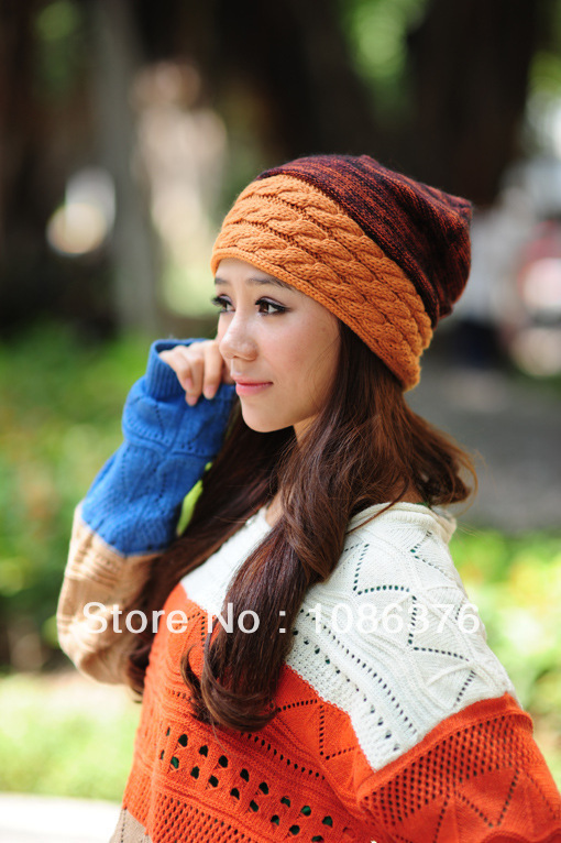 2015 new style rabbit fur knitted female hat autumn and winter thermal cap 15color 1pcs brand new arrive 2015 new brand female elegent style 100
