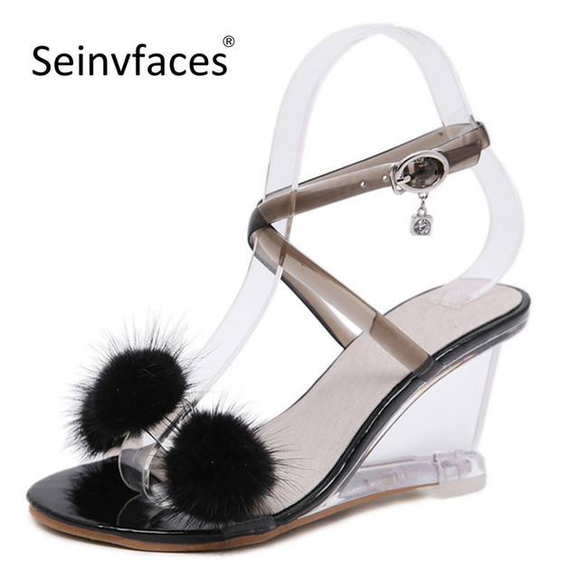 b89e6bcbd3b Women's summer concise casual white black faux fur ball glass transparent  cross tied peep toe wedges high heels sandals F15-in High Heels from Shoes  ...