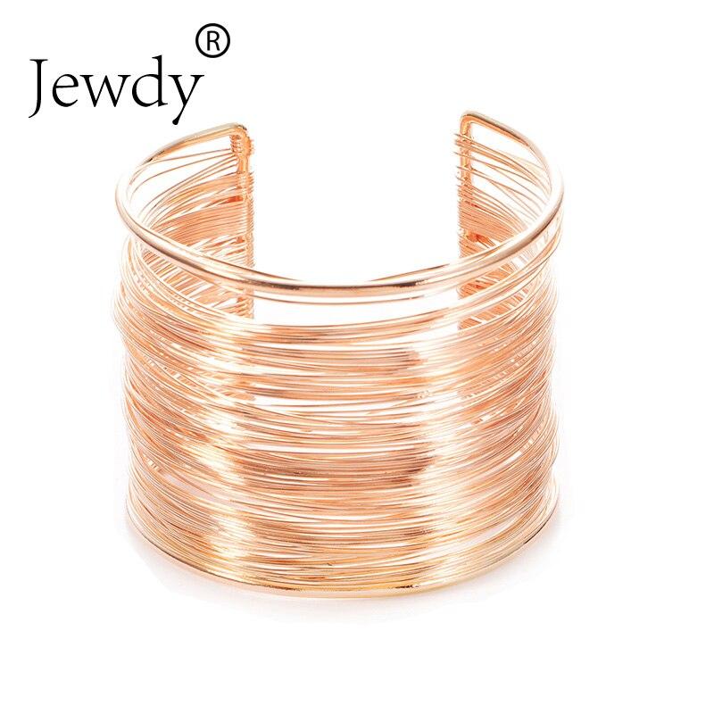 Sunshine Fashion Punky Style Hollow Cuff Retro Braid Big Gold color Bangles For Women Charm vintage Multilayer Wide Bracelet