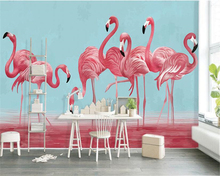 beibehang Custom flamingo simple hand-painted Nordic art papel de parede 3d wallpaper creative living room bedroom background