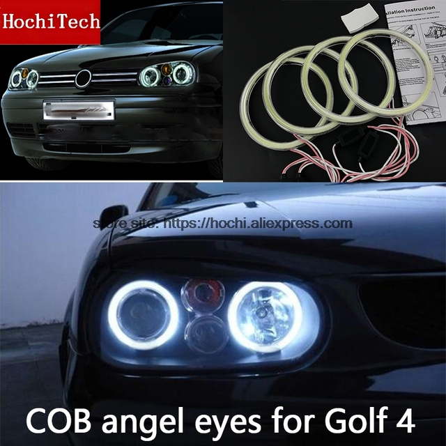 High Quality COB Led Light White Halo Led Angel Eyes Ring For Volkswagen Golf 4 golf4 MK4 R32 VR6 1998 2004 with lens