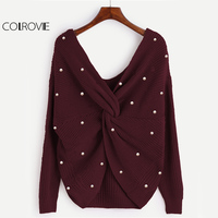 COLROVIE Pearl Beading Twist Cute Sweater Women Burgundy Knitwear Long Sleeve Pullovers Fall 2017 Fashion V